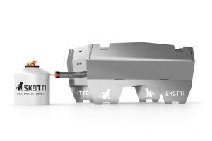 Skotti: opvouwbare grill voor gas, hout en houtskool